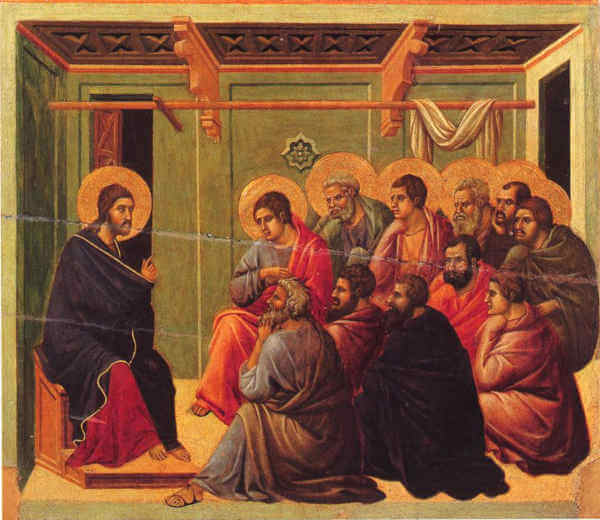 DUCCIO di Buoninsegna<br /> (b. ca. 1255, Siena, d. 1319, Siena)<br /> Christ Taking Leave of the Apostles<br /> 1308-11<br /> Tempera on wood, 50 x 53 cm<br /> Museo dell'Opera del Duomo, Siena<br /> Following the story in John again, the scenes succeed each other from the bottom upwards although occurring simultaneously. While Jesus is giving the new commandment to the apostles (now eleven) , Judas betrays him for thirty pieces of silver. In Christ Taking Leave of the Apostles, his sideways position, shown up by the half-open door, is in contrast to the closeknit group of disciples. They are all turning the same way in thoughtful attitudes, the soft drapery of their coloured robes animating the whole scene. As in the Washing of the Feet and the Last Supper Duccio has avoided haloes since the conspicuous shape of the golden discs might have created an overpowering effect, besides taking up most of the space in the picture.<br /> --- Keywords: --------------<br /> Author: DUCCIO di Buoninsegna<br /> Title: Christ Taking Leave of the Apostles<br /> Time-line: 1301-1350<br /> School: Italian<br /> Form: painting<br /> Type: religious